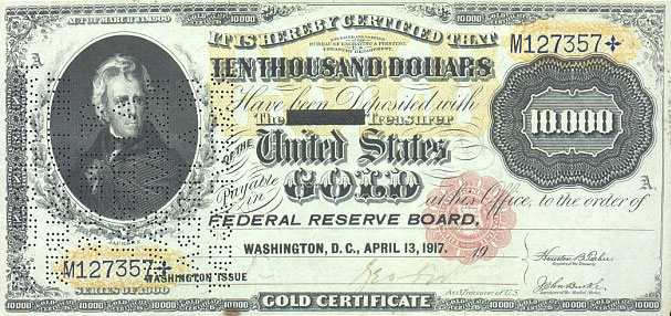 us banknotes - ten thousand dollars